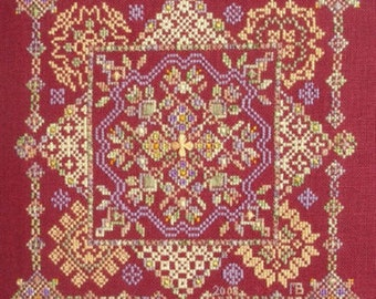 Year's End, counted cross stitch and speciality stitches chart. Geometric design.