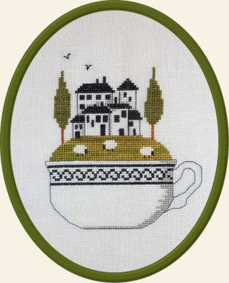 In My Cup  Dans Ma Tasse  counted cross stitch chart. image 0