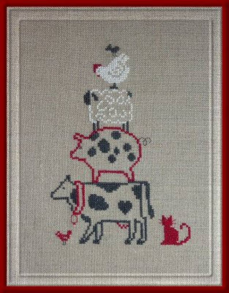 Farm Pyramid  counted cross stitch chart to work in 3 colours image 0