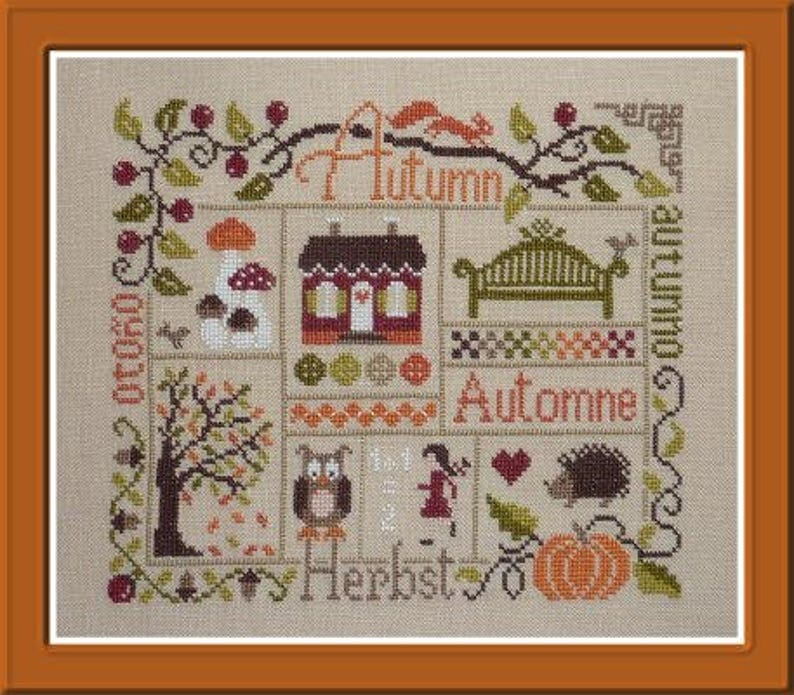 Autumn Sampler  counted cross stitch chart to work in 10 image 0