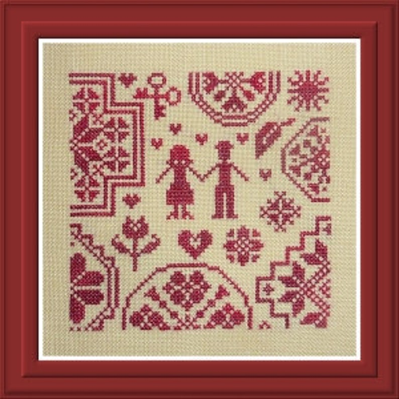Quakers in Love  French counted cross stitch chart to work in image 0