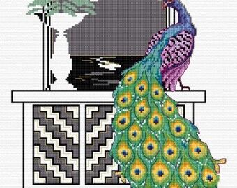 Peacock Art Deco style – counted cross stitch chart.