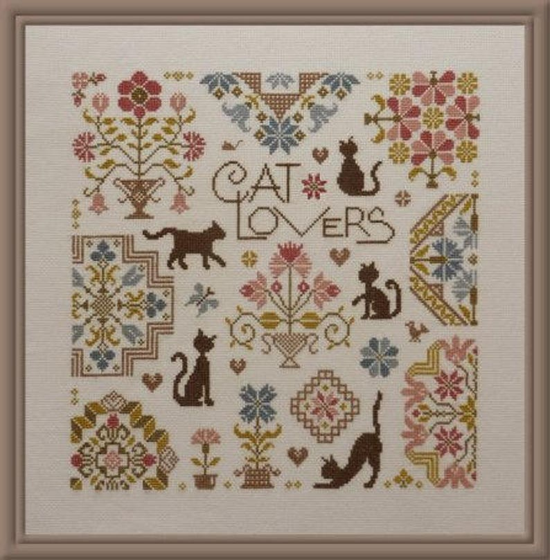 Cat Lovers  counted cross stitch chart. Quaker cat design image 0