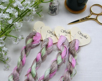149, Sicilia, hand dyed variegated stranded cotton. Lovely combination of Pink, Green, brown and beige.