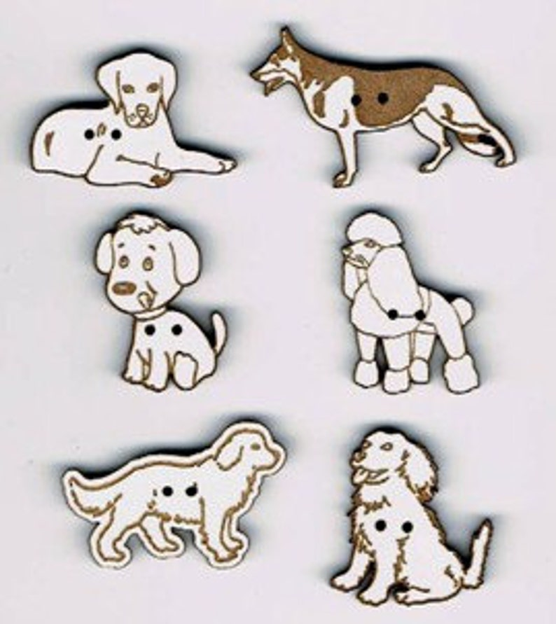 Dogs  Set of 6 decorative dog buttons made from MDF with image 0