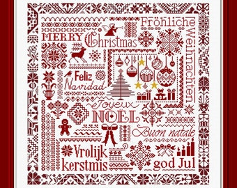 Red Christmas Sampler counted cross stitch chart. Features European words for Christmas and traditional Xmas motifs.