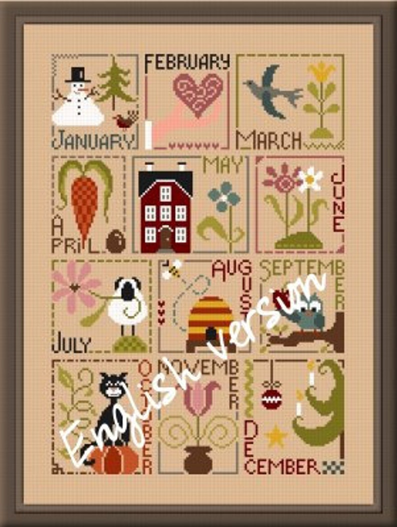 Months of the Year Sampler in English or French   counted image 0