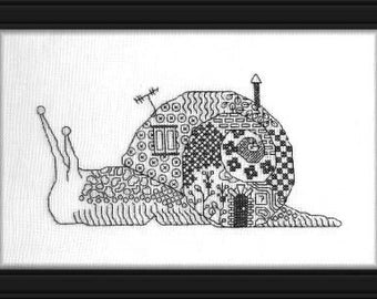 Snail, counted Blackwork and cross stitch chart.