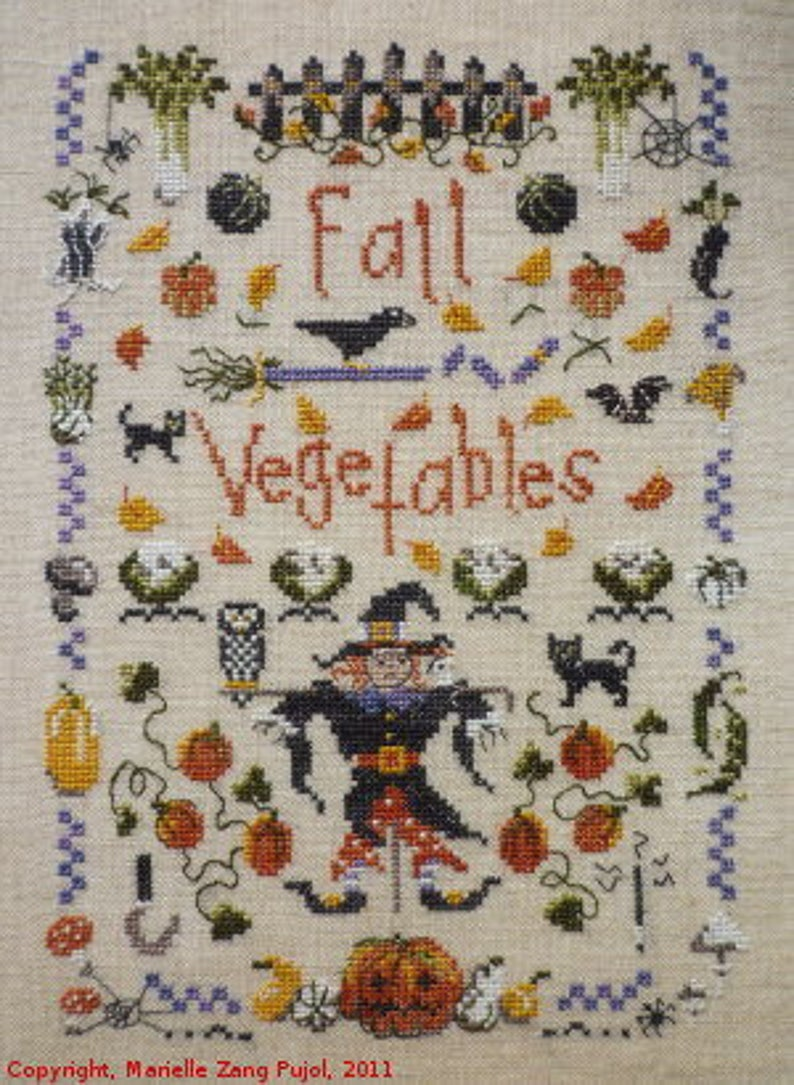 Autumn Fall Vegetables  a seasonal counted cross stitch image 0