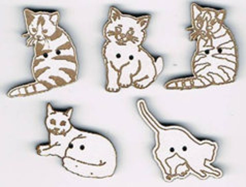 Cats 2  Set of 5 buttons made from natural MDF or with white image 0
