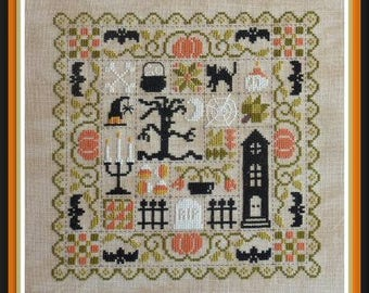 Patchwork Halloween – counted cross stitch chart, halloween theme patchwork style design to stitch.