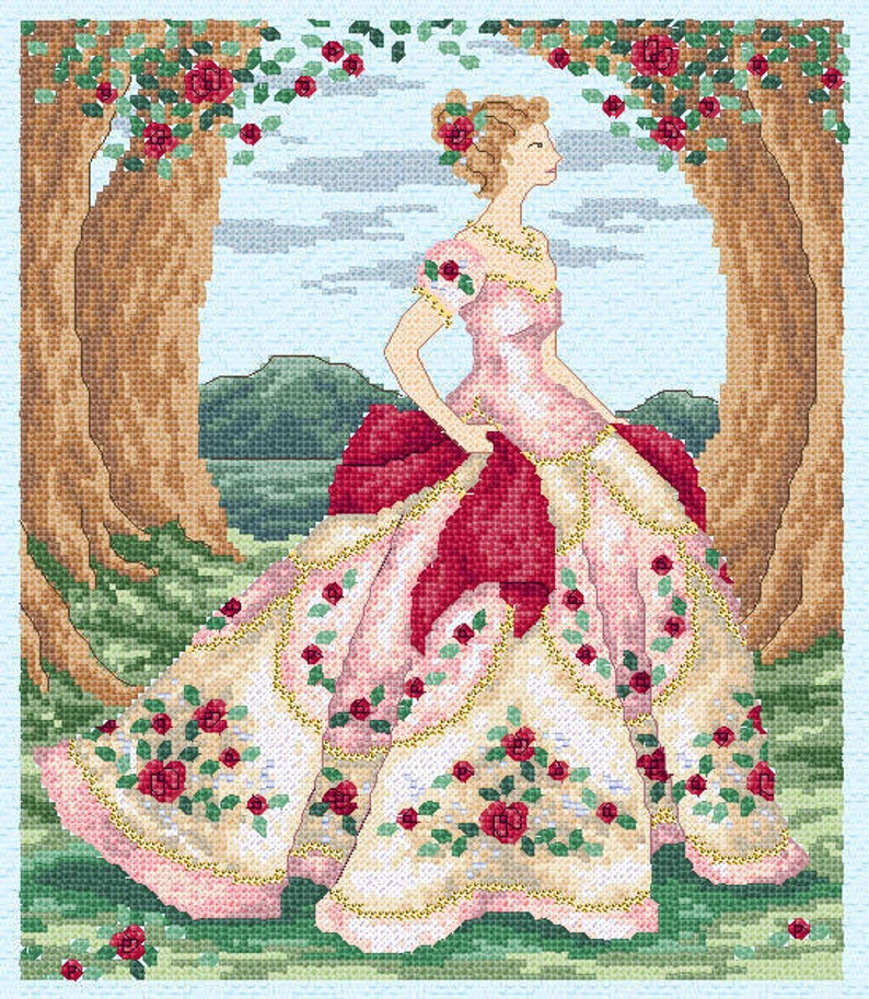 Rose  counted cross stitch chart. Charted for 31 colours of image 0