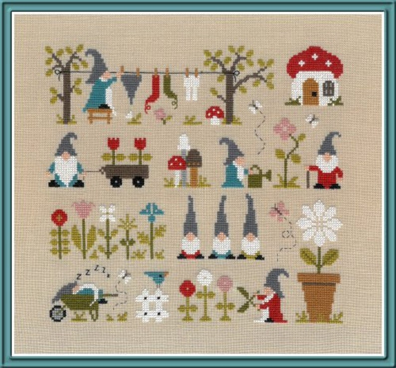 Garden of Gnomes  counted cross stitch chart. Cute design image 0
