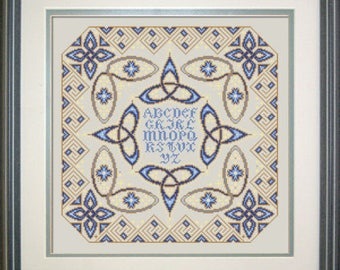 Celtic Beauty, counted cross stitch chart.  ABC Sampler.  Uses 4 thread colours DMC or Dinky Dyes, Kreinik thread and Mill Hill beads.
