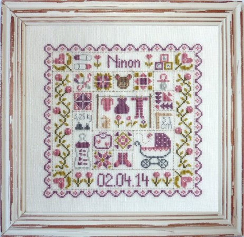 Patchwork Baby  counted cross stitch chart to work in 8 image 0