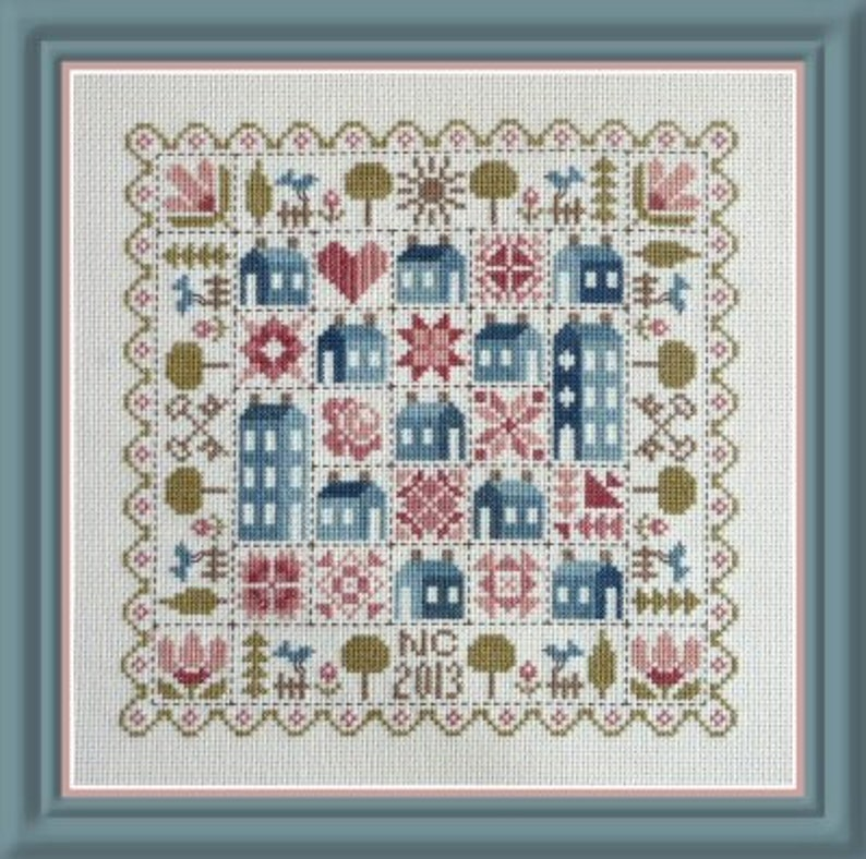 Patchwork Houses  counted cross stitch chart to work in 9 image 0