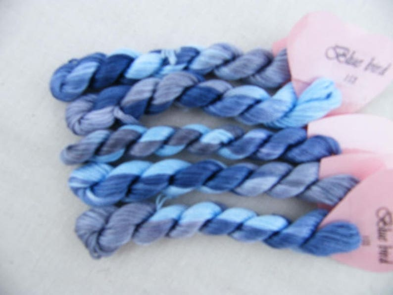 153  Bluebird Variegated Stranded Cotton hand dyed in image 0