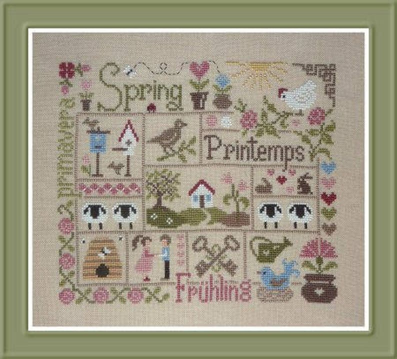 Spring Sampler  counted cross stitch chart to work in 15 image 0