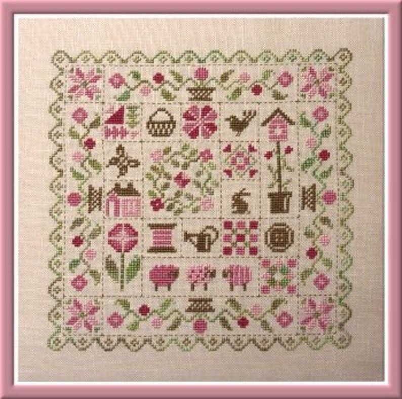 Spring Patchwork  counted cross stitch chart to work in 7 image 0