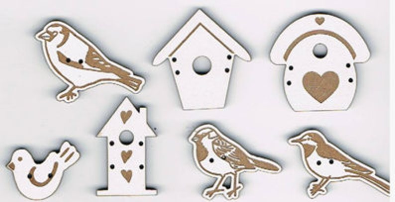 Birds and birdhouses. Set of 7 decorative buttons made from image 0