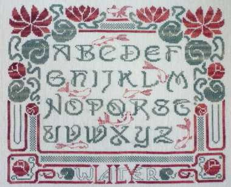 Water Lily  counted cross stitch chart ABC Art Nouveau image 0