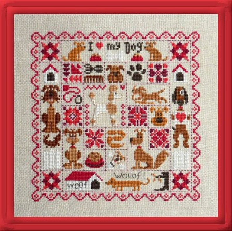 Patchwork Dogs  counted cross stitch chart to work in 11 image 0