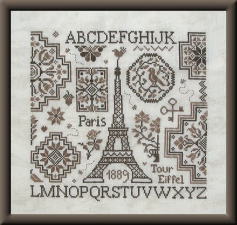Quaker Eiffel  counted cross stitch chart. French chart to image 0