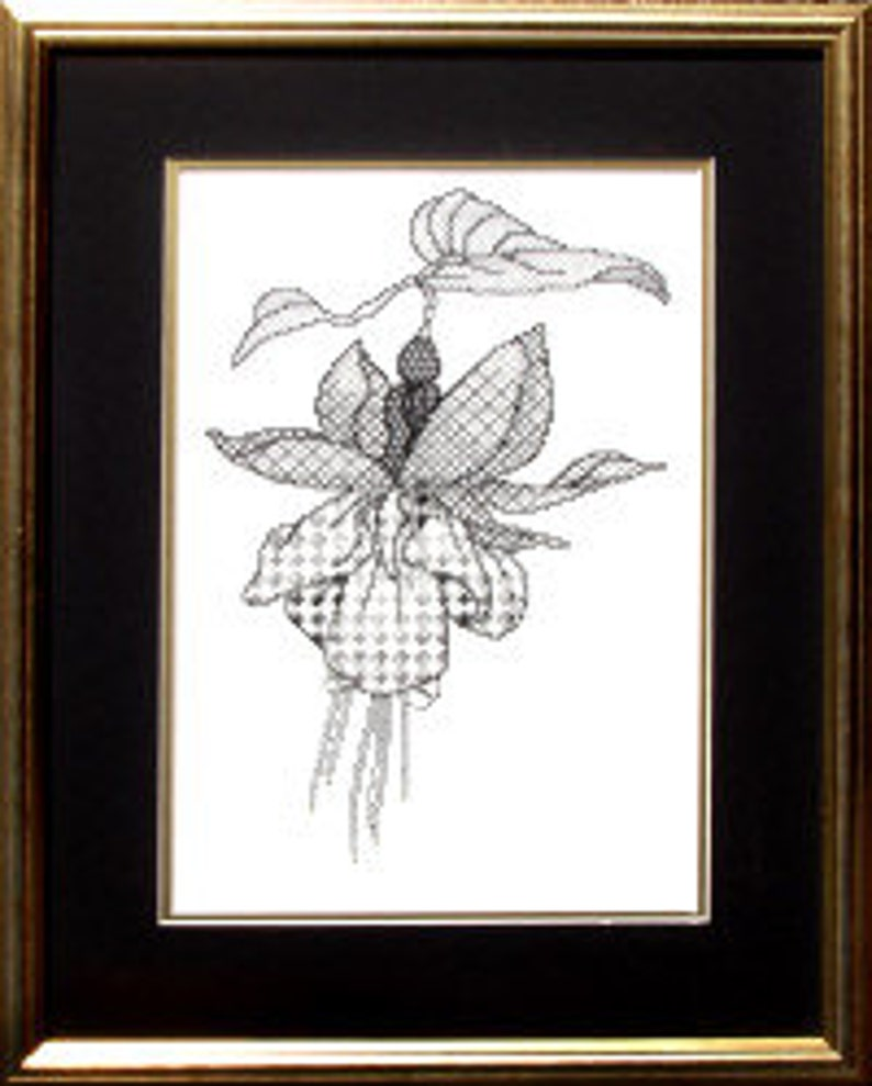 Fuchsia  Counted Blackwork Chart. Flower design.  Blackwork image 0