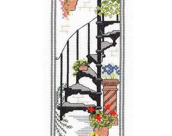 Town Garden - Staircase - Counted Cross Stitch Kit. All materials included - evenweave fabric, 12 colours stranded cotton pre-sorted, needle
