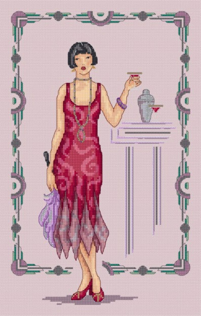 Ruby  counted cross stitch chart. Charted for 26 colours of image 0