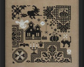 Quaker Halloween – counted cross stitch chart to work in monochrome.