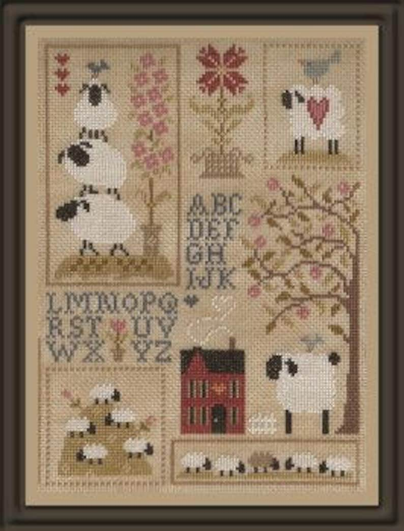 Sheep Story 3  counted cross stitch chart to work in 12 image 0
