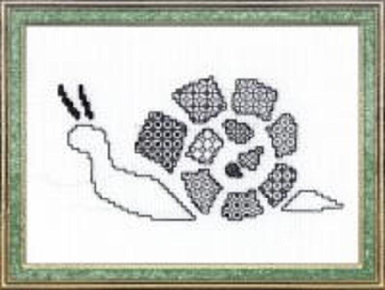 Snail  Blackwork kit. Design using black thread. 28 count image 0