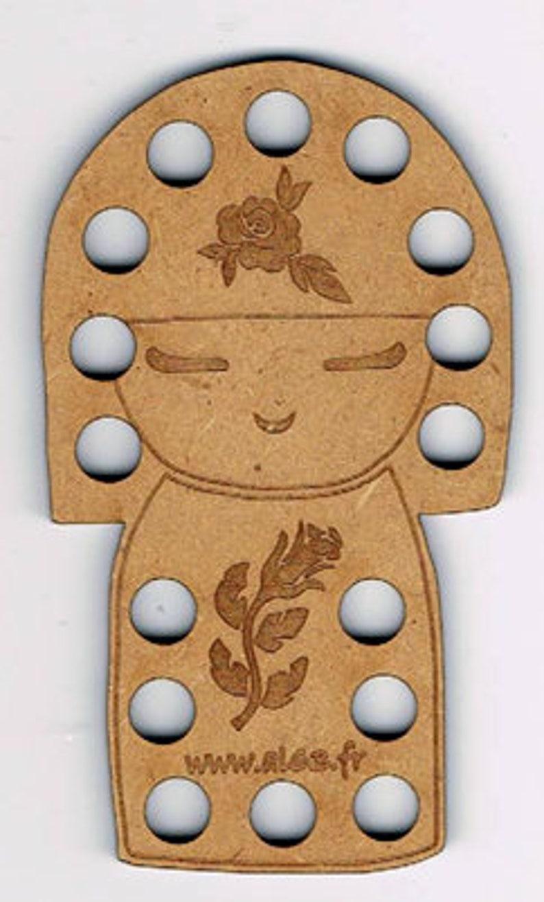 Japanese Doll Kokeshi Thread Floss Holder made from MDF. image 0