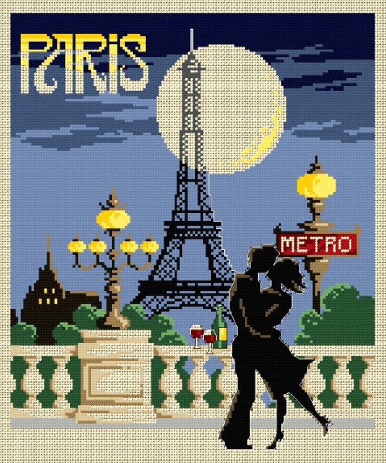 Paris Vintage Poster  counted cross stitch chart. Charted for image 0