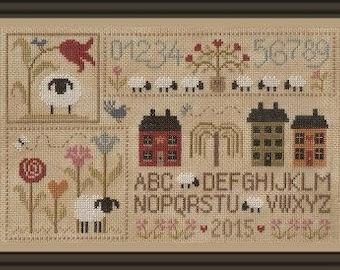 Sheep Story 1 – printed counted cross stitch chart. Sheep theme cross stitch.