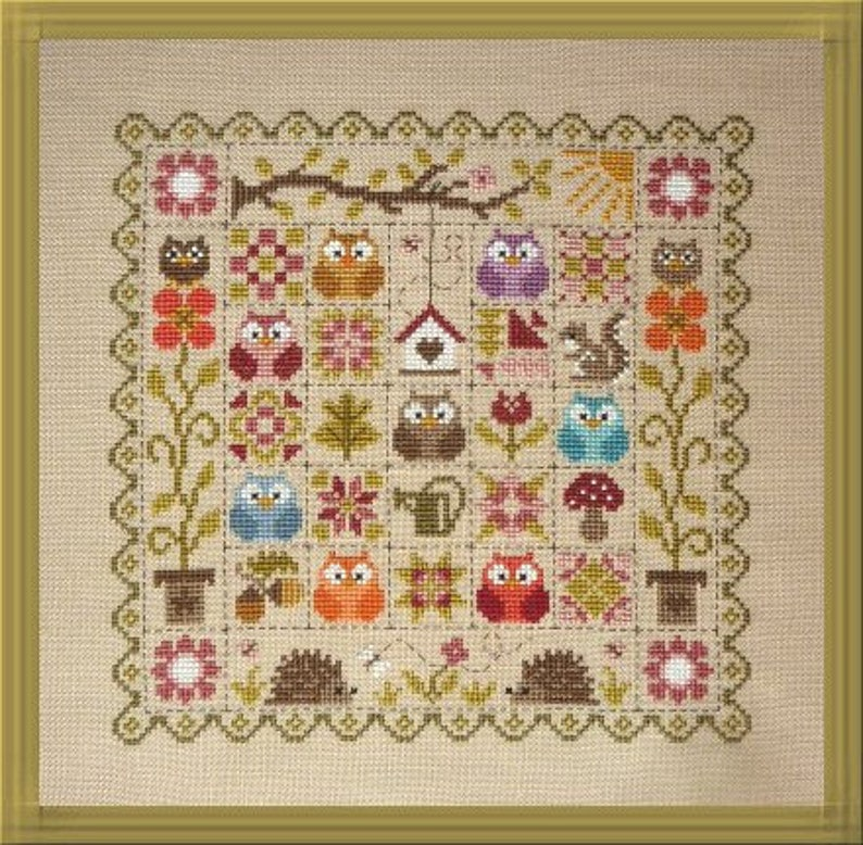 Patchwork Owls  counted cross stitch chart to work in 24 image 0