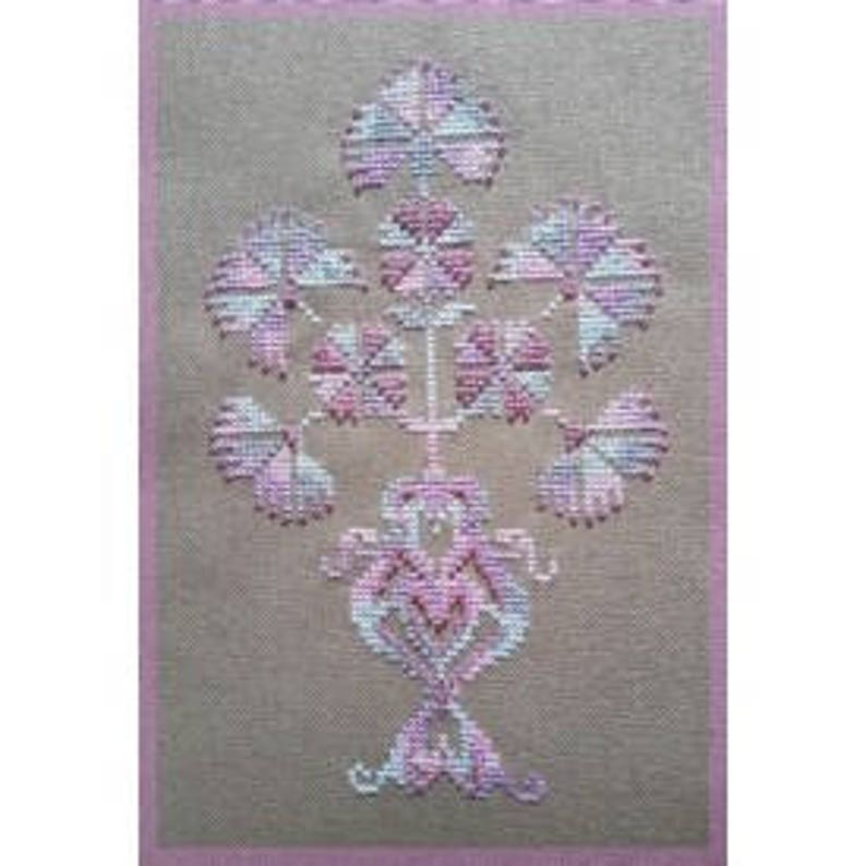 Bouquet Baroque 2 – French counted cross stitch chart  Baroque design  Hand  dyed thread and beads  Fils à Soso thread