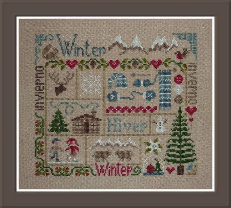 Winter Sampler  counted cross stitch chart to work in 11 image 0