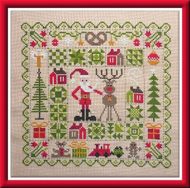 Christmas Patchwork  Counted Cross Stitch Chart French image 0
