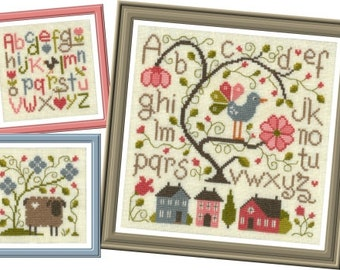 Floral Composition 1, counted cross stitch chart, ABC Sampler.