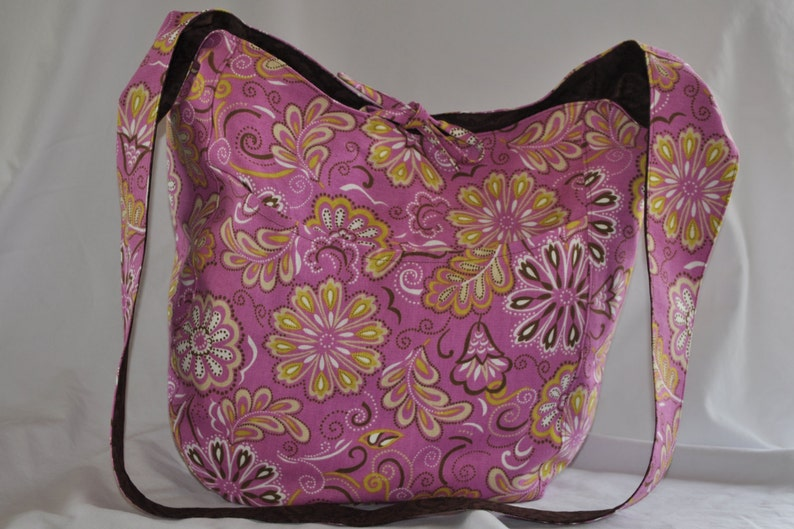 Shoulder BagFuchsia Pink Messenger Leaves and Swirls with Brown Floral Lining Floral Handmade CanvasCotton Crossbody