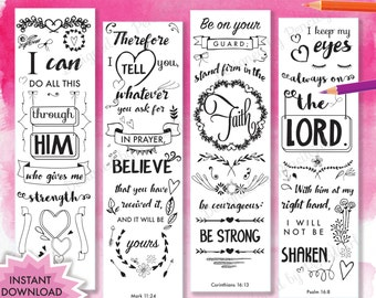 Coloring Bible Journaling Margin Strips Bookmarks INSTANT Download PRINTABLE Christian Religious Hand Drawn Scripture Psalm Proverbs