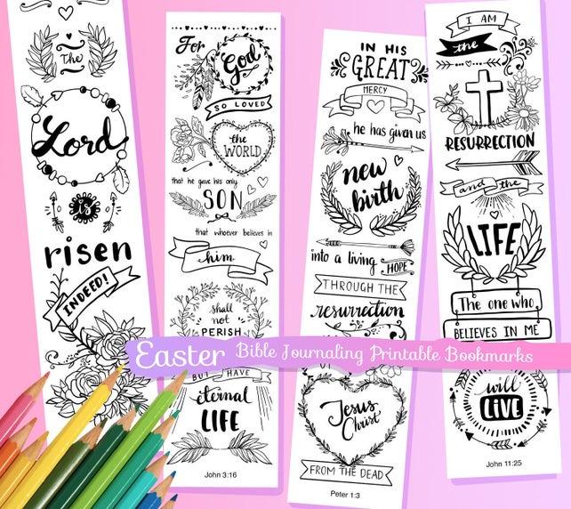 Pascua para colorear Biblia diario margen tiras / marcadores | Etsy