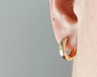 Gold Huggie Hoop Earrings, Gold Filled Huggie Earrings, Hoop Earrings, Minimalist Earrings, Gold Jewelry