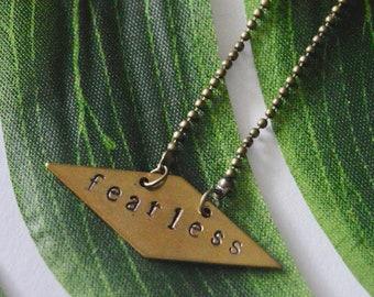 Geometric Stamped Brass Necklace