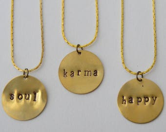 Stamped Round Brass Necklace - Personalized, Custom