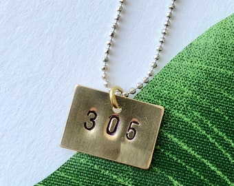 Stamped Area Code Necklace - Custom