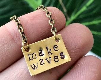 Make Waves Stamped Necklace, Custom