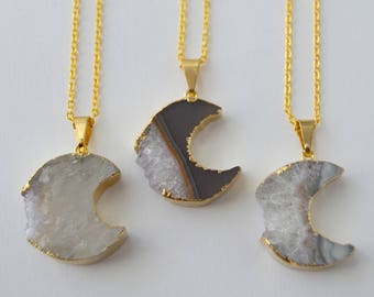 Moon Agate Slice Necklace - Gold Filled